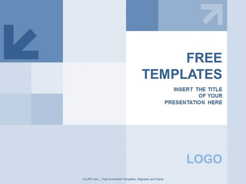 blue squares and aroww powerpoint templates design + download free +, Blue Presentation Template, Presentation templates