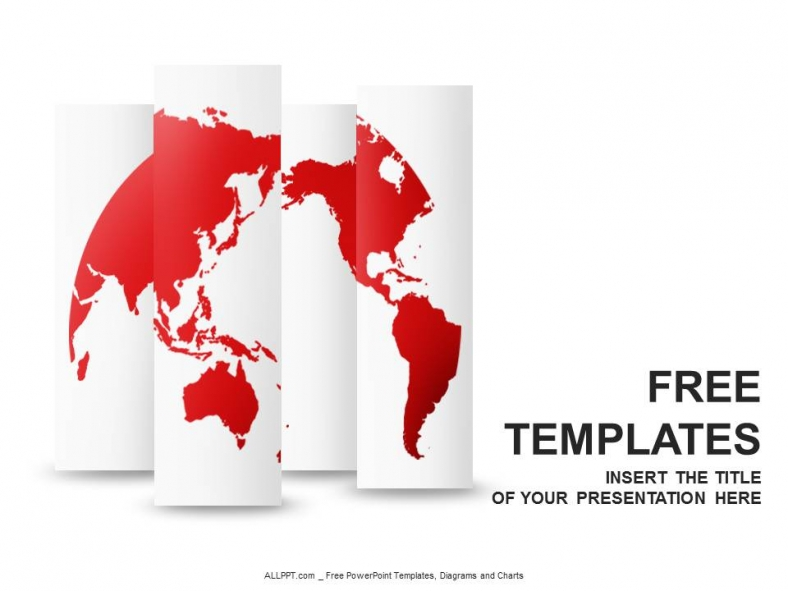 red world map powerpoint templates design + download free + daily, Modern powerpoint