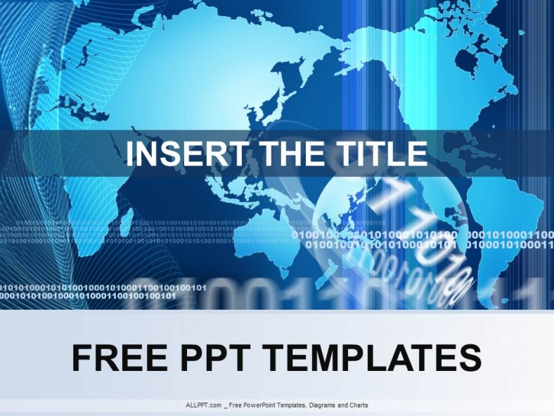 download free + world map in blue powerpoint template design +, Modern powerpoint