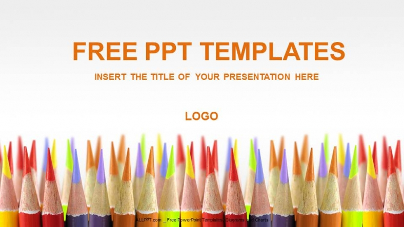 colored pencils education powerpoint templates + download free +, Powerpoint templates