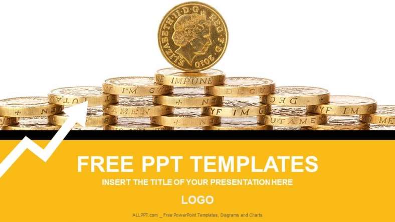gold coins finance powerpoint templates + download free + daily, Modern powerpoint