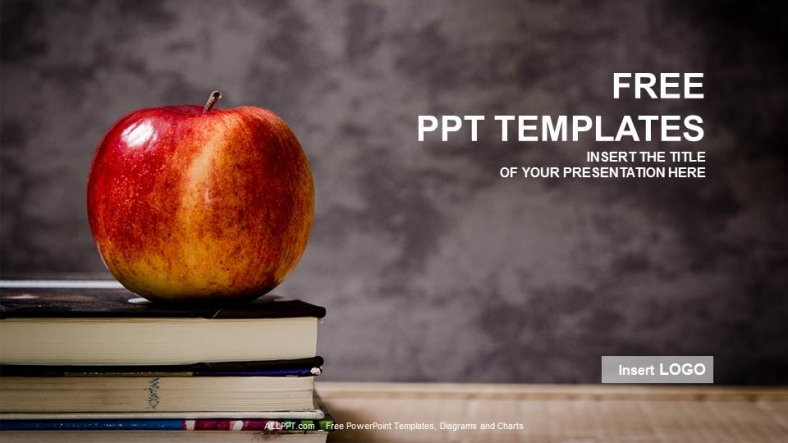 apple and book-education ppt templates, Presentation templates