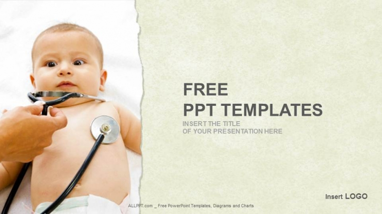 Little Baby With Stethoscope Medical Ppt Templates