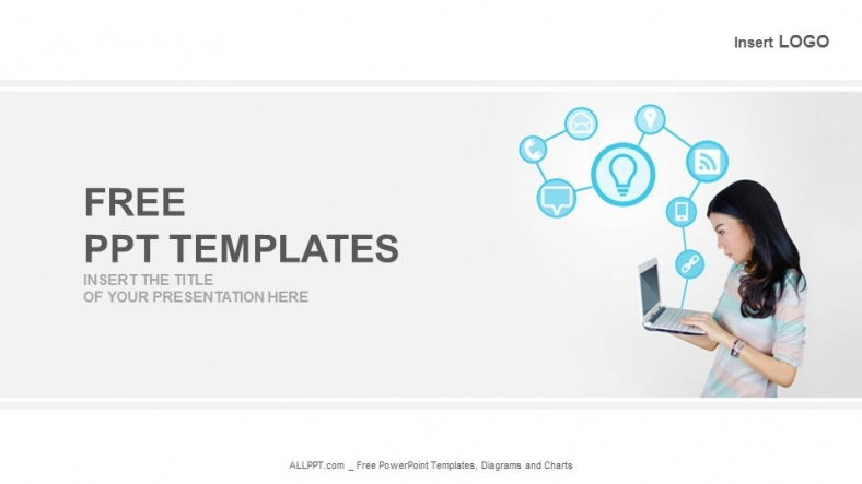 Free modern powerpoint templates design laptop with technology icons business powerpoint templates toneelgroepblik Choice Image