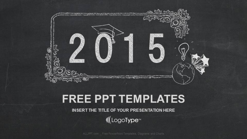 Happy New Year 2015 In Blackboard Ppt Templates
