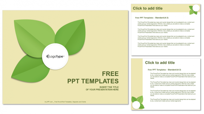 green leaf-abstract powerpoint templates, Powerpoint templates