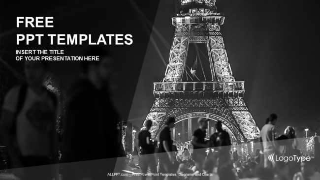paris france travel-ppt templates, Modern powerpoint