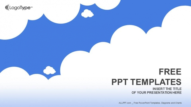 White Clouds With Blue-Abstract Powerpoint Templates