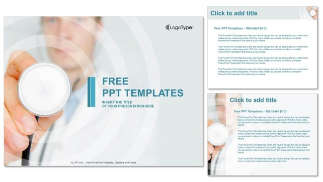 Doctor hand with stethoscope PowerPoint Templates (4)