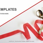 Fork and knife with ribbon PowerPoint Templates (1)