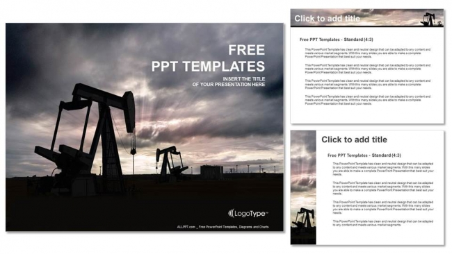 Oil pump jack PowerPoint Templates (4)