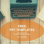 Vintage Typewriter on wooden table PowerPoint Templates (1)