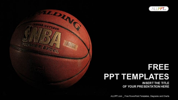 A basketball with a dark background PowerPoint Templates  (1)