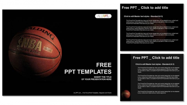 A basketball with a dark background PowerPoint Templates (4)
