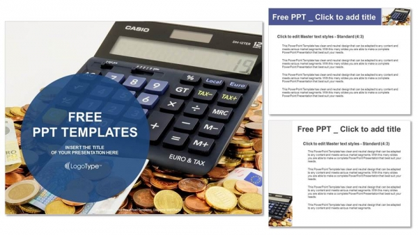Calculator and euro banknotes PowerPoint Templates (4)