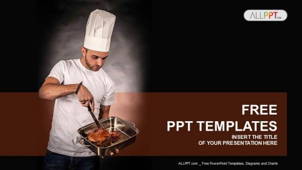 Chef cook holding pan with meat PowerPoint Templates (1)