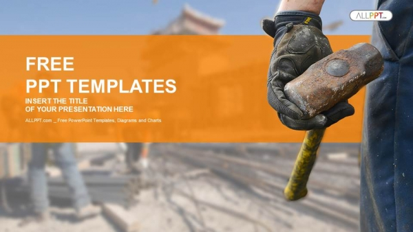 Construction worker with sledge hammer PowerPoint Templates  (1)
