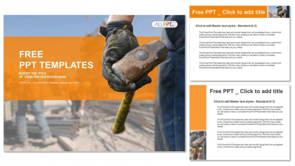 Construction worker with sledge hammer PowerPoint Templates (4)