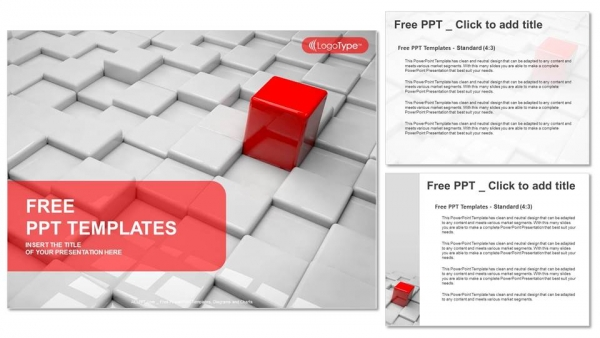 Different red quadrangle PowerPoint Templates (4)