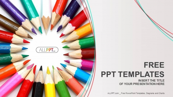 Group of colored pencils PowerPoint Templates (1)