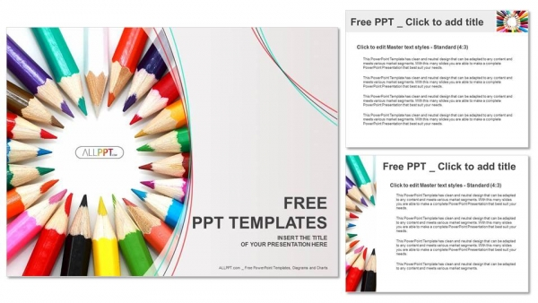 Group of colored pencils PowerPoint Templates (4)