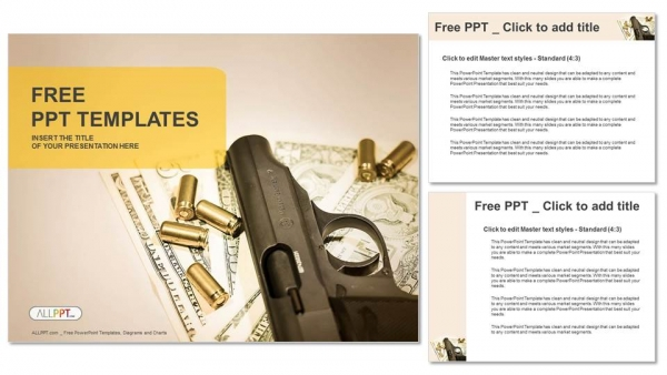 Gun and group of Bullets PowerPoint Templates (4)