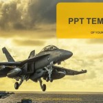 Jet Fighter Taking Off From aircraft carrier PowerPoint Templates  (1)