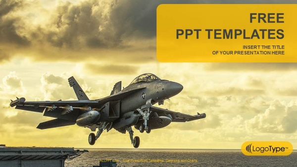 jet fighter taking off from aircraft carrier powerpoint templates, Modern powerpoint