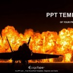 Jet fighter with fire  PowerPoint Templates (1)