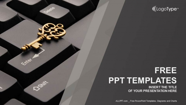 Key on computer keyboard PowerPoint Templates (1)