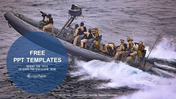 Military boats patrolling PowerPoint Templates (1)