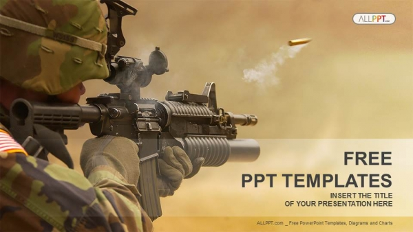 submachine gun-military powerpoint templates, Modern powerpoint