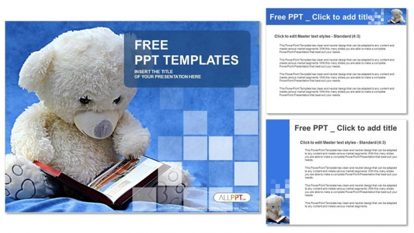 Teddy bear reads a book PowerPoint Templates (4) - Copy