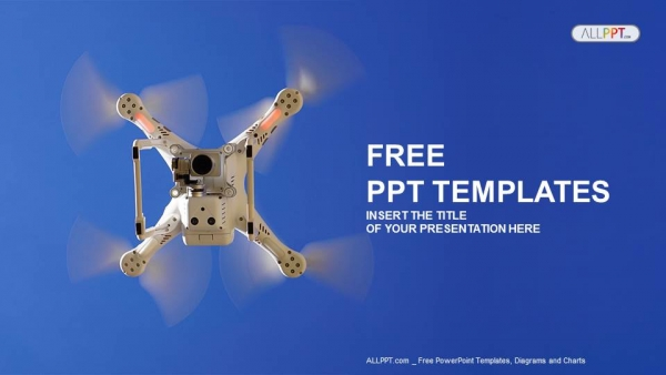 White drone in the sky PowerPoint Templates (1)