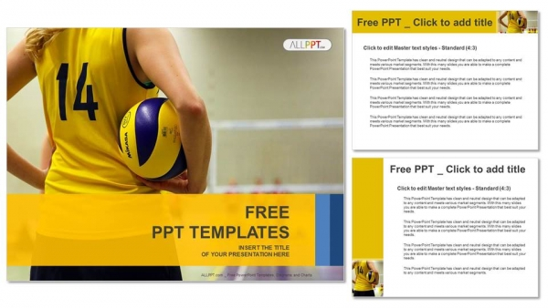 Young Girl Holding Volleyball-Sports PowerPoint Templates (4)