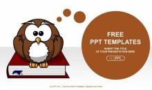 Cute owl on books-Education PowerPoint Templates