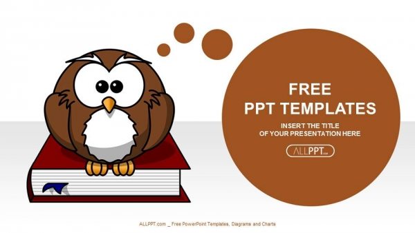 cute owl on books-education powerpoint templates, Powerpoint templates
