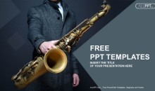 Musician holding saxophone PowerPoint Templates