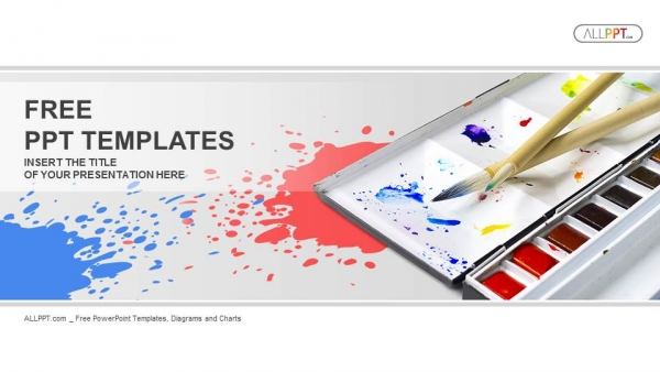 Palette with tubes of oil paints PowerPoint Templates  (1)