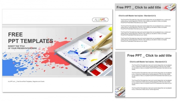 Palette with tubes of oil paints PowerPoint Templates (4)