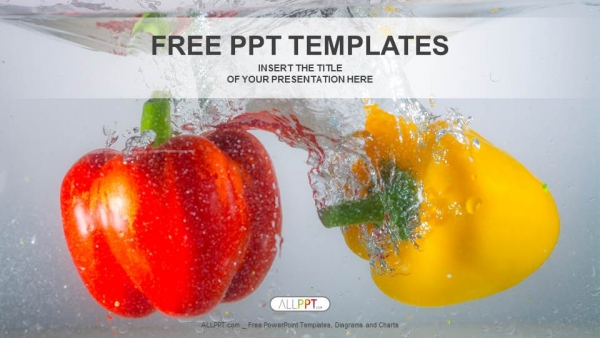 Red and yellow paprika peppers in water powerpoint templates toneelgroepblik Images