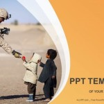 Soldier and children-Military PowerPoint Templates  (1)