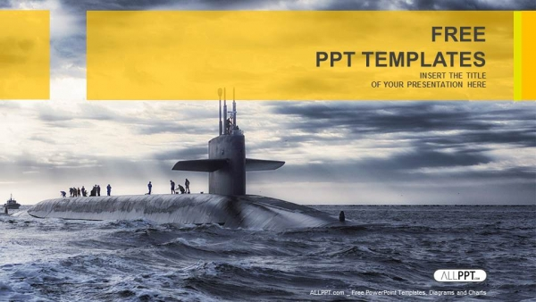 Submarine sailing-Military PowerPoint Templates  (1)