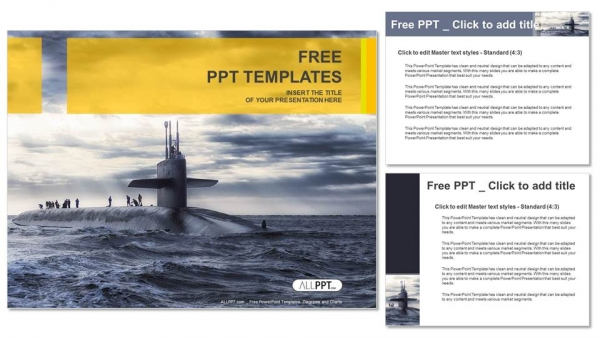 Submarine sailing-Military PowerPoint Templates (4)