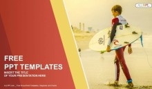 Surfer holding a Surf Board-Sports PowerPoint Templates