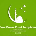 White silhouette of Mosque on moon PowerPoint Templates  (1)