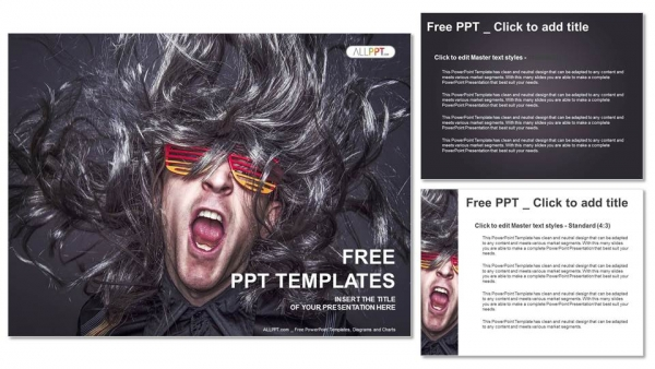 Rock star singing over black background PowerPoint Templates (4)