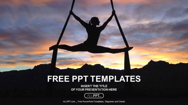 silhouette of woman doing yoga powerpoint templates, Presentation templates