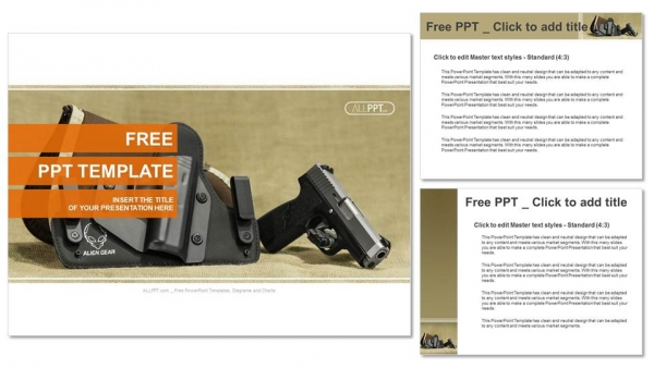 The automatic pistol stand about holster black color PowerPoint Templates (4)