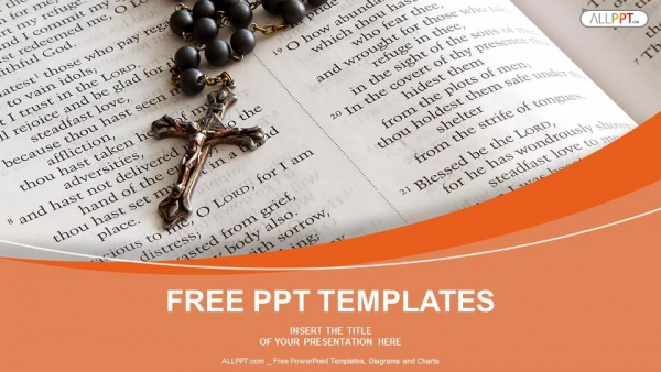 Black bead rosary in open bible PowerPoint Templates (1)